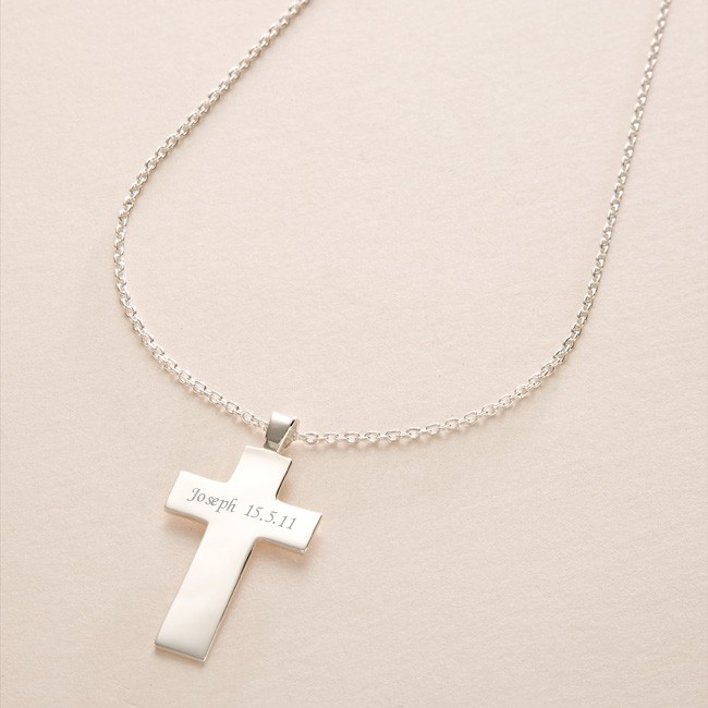 Engraved solid silver cross necklace charming engraving aloadofball Images
